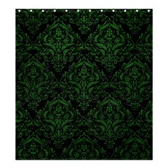 Damask1 Black Marble & Green Leather Shower Curtain 66  X 72  (large)
