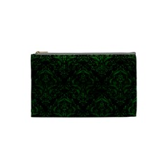 Damask1 Black Marble & Green Leather Cosmetic Bag (small)  by trendistuff