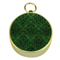 Damask1 Black Marble & Green Leather (r) Gold Compasses by trendistuff