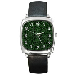 Damask2 Black Marble & Green Leather Square Metal Watch by trendistuff