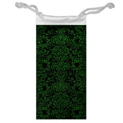 Damask2 Black Marble & Green Leather Jewelry Bag