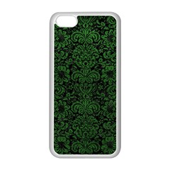 Damask2 Black Marble & Green Leather Apple Iphone 5c Seamless Case (white) by trendistuff