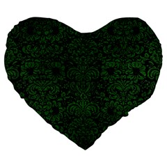 Damask2 Black Marble & Green Leather Large 19  Premium Flano Heart Shape Cushions by trendistuff