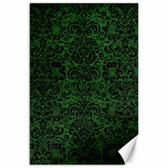 Damask2 Black Marble & Green Leather (r) Canvas 24  X 36  by trendistuff