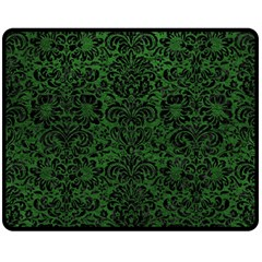 Damask2 Black Marble & Green Leather (r) Double Sided Fleece Blanket (medium)  by trendistuff