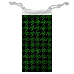 Houndstooth1 Black Marble & Green Leather Jewelry Bag by trendistuff