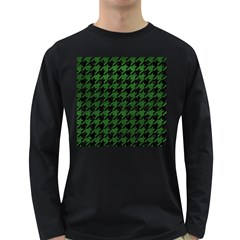 Houndstooth1 Black Marble & Green Leather Long Sleeve Dark T Shirts by trendistuff