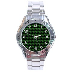 Houndstooth1 Black Marble & Green Leather Stainless Steel Analogue Watch