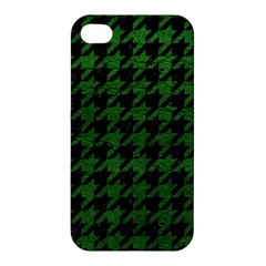Houndstooth1 Black Marble & Green Leather Apple Iphone 4/4s Premium Hardshell Case by trendistuff