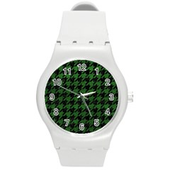 Houndstooth1 Black Marble & Green Leather Round Plastic Sport Watch (m) by trendistuff