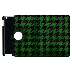 Houndstooth1 Black Marble & Green Leather Apple Ipad 2 Flip 360 Case by trendistuff
