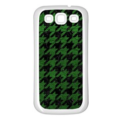 Houndstooth1 Black Marble & Green Leather Samsung Galaxy S3 Back Case (white) by trendistuff