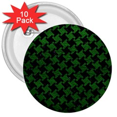 Houndstooth2 Black Marble & Green Leather 3  Buttons (10 Pack)  by trendistuff
