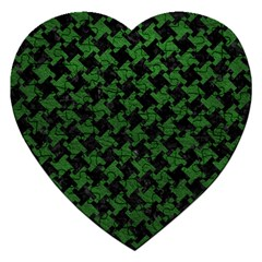 Houndstooth2 Black Marble & Green Leather Jigsaw Puzzle (heart) by trendistuff
