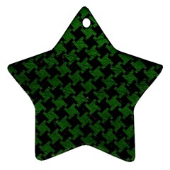 Houndstooth2 Black Marble & Green Leather Star Ornament (two Sides) by trendistuff