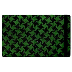 Houndstooth2 Black Marble & Green Leather Apple Ipad 3/4 Flip Case by trendistuff