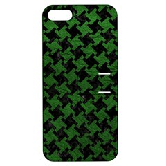 Houndstooth2 Black Marble & Green Leather Apple Iphone 5 Hardshell Case With Stand by trendistuff