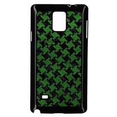 Houndstooth2 Black Marble & Green Leather Samsung Galaxy Note 4 Case (black) by trendistuff
