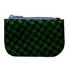 Houndstooth2 Black Marble & Green Leather Large Coin Purse by trendistuff