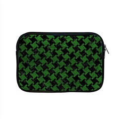 Houndstooth2 Black Marble & Green Leather Apple Macbook Pro 15  Zipper Case by trendistuff