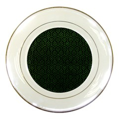 Hexagon1 Black Marble & Green Leather Porcelain Plates by trendistuff
