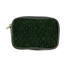 Hexagon1 Black Marble & Green Leather Coin Purse by trendistuff
