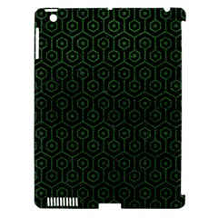 Hexagon1 Black Marble & Green Leather Apple Ipad 3/4 Hardshell Case (compatible With Smart Cover) by trendistuff