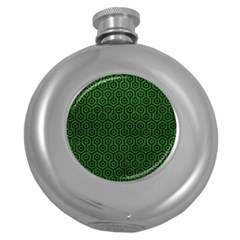 Hexagon1 Black Marble & Green Leather (r) Round Hip Flask (5 Oz) by trendistuff