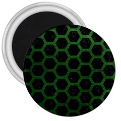 Hexagon2 Black Marble & Green Leather 3  Magnets by trendistuff