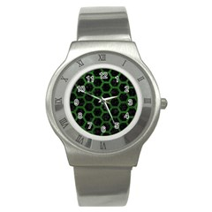 Hexagon2 Black Marble & Green Leather Stainless Steel Watch by trendistuff