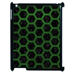 Hexagon2 Black Marble & Green Leather Apple Ipad 2 Case (black) by trendistuff