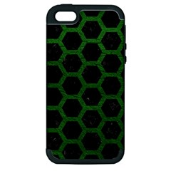 Hexagon2 Black Marble & Green Leather Apple Iphone 5 Hardshell Case (pc+silicone) by trendistuff