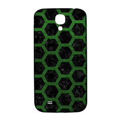 Hexagon2 Black Marble & Green Leather Samsung Galaxy S4 I9500/i9505  Hardshell Back Case by trendistuff