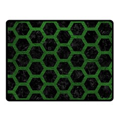 Hexagon2 Black Marble & Green Leather Double Sided Fleece Blanket (small)  by trendistuff