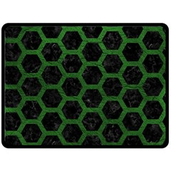 Hexagon2 Black Marble & Green Leather Double Sided Fleece Blanket (large)  by trendistuff