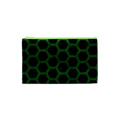 Hexagon2 Black Marble & Green Leather Cosmetic Bag (xs) by trendistuff