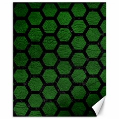Hexagon2 Black Marble & Green Leather (r) Canvas 11  X 14   by trendistuff