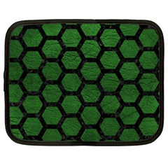 Hexagon2 Black Marble & Green Leather (r) Netbook Case (large) by trendistuff
