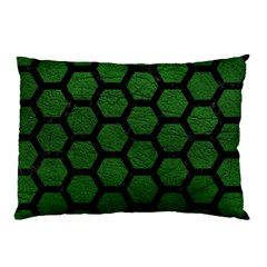 Hexagon2 Black Marble & Green Leather (r) Pillow Case (two Sides) by trendistuff