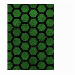Hexagon2 Black Marble & Green Leather (r) Large Garden Flag (two Sides) by trendistuff