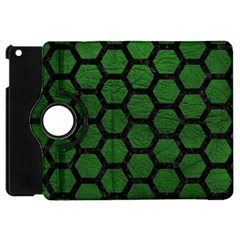 Hexagon2 Black Marble & Green Leather (r) Apple Ipad Mini Flip 360 Case by trendistuff