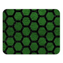 Hexagon2 Black Marble & Green Leather (r) Double Sided Flano Blanket (large)  by trendistuff
