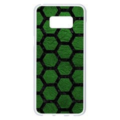 Hexagon2 Black Marble & Green Leather (r) Samsung Galaxy S8 Plus White Seamless Case by trendistuff