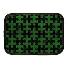 Puzzle1 Black Marble & Green Leather Netbook Case (medium)  by trendistuff