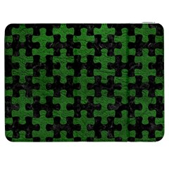 Puzzle1 Black Marble & Green Leather Samsung Galaxy Tab 7  P1000 Flip Case by trendistuff