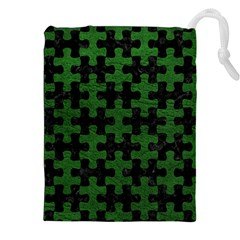 Puzzle1 Black Marble & Green Leather Drawstring Pouches (xxl) by trendistuff