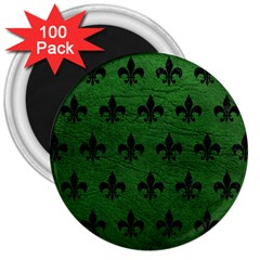 Royal1 Black Marble & Green Leather 3  Magnets (100 Pack) by trendistuff