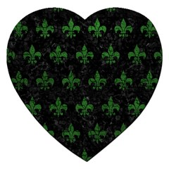 Royal1 Black Marble & Green Leather (r) Jigsaw Puzzle (heart) by trendistuff