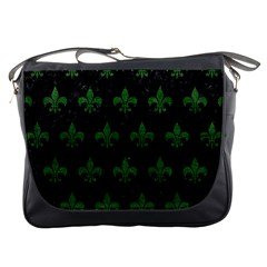 Royal1 Black Marble & Green Leather (r) Messenger Bags by trendistuff