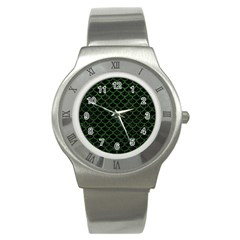 Scales1 Black Marble & Green Leather Stainless Steel Watch by trendistuff